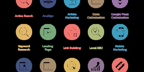 SEOに関連したフラットデザインのアイコンセット[60 SEO Services Icons]を紹介します。