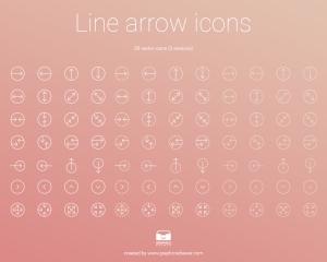 【ICON】全84種類のラインタイプのアイコンセット[Line Arrow Icons]が無料で配布されています。
