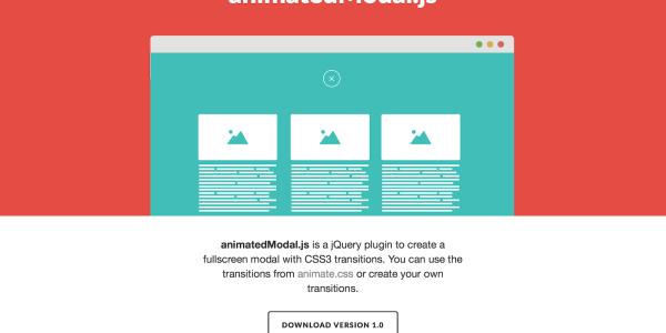 【jQuery】指定したアニメーションでモーダルウィンドウが表示される[animatedModal.js]の使い方