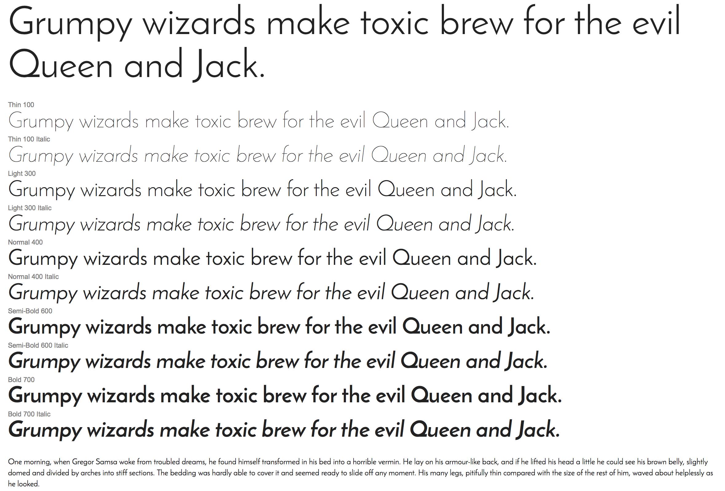 Google Web Fonts - Josefin Sans