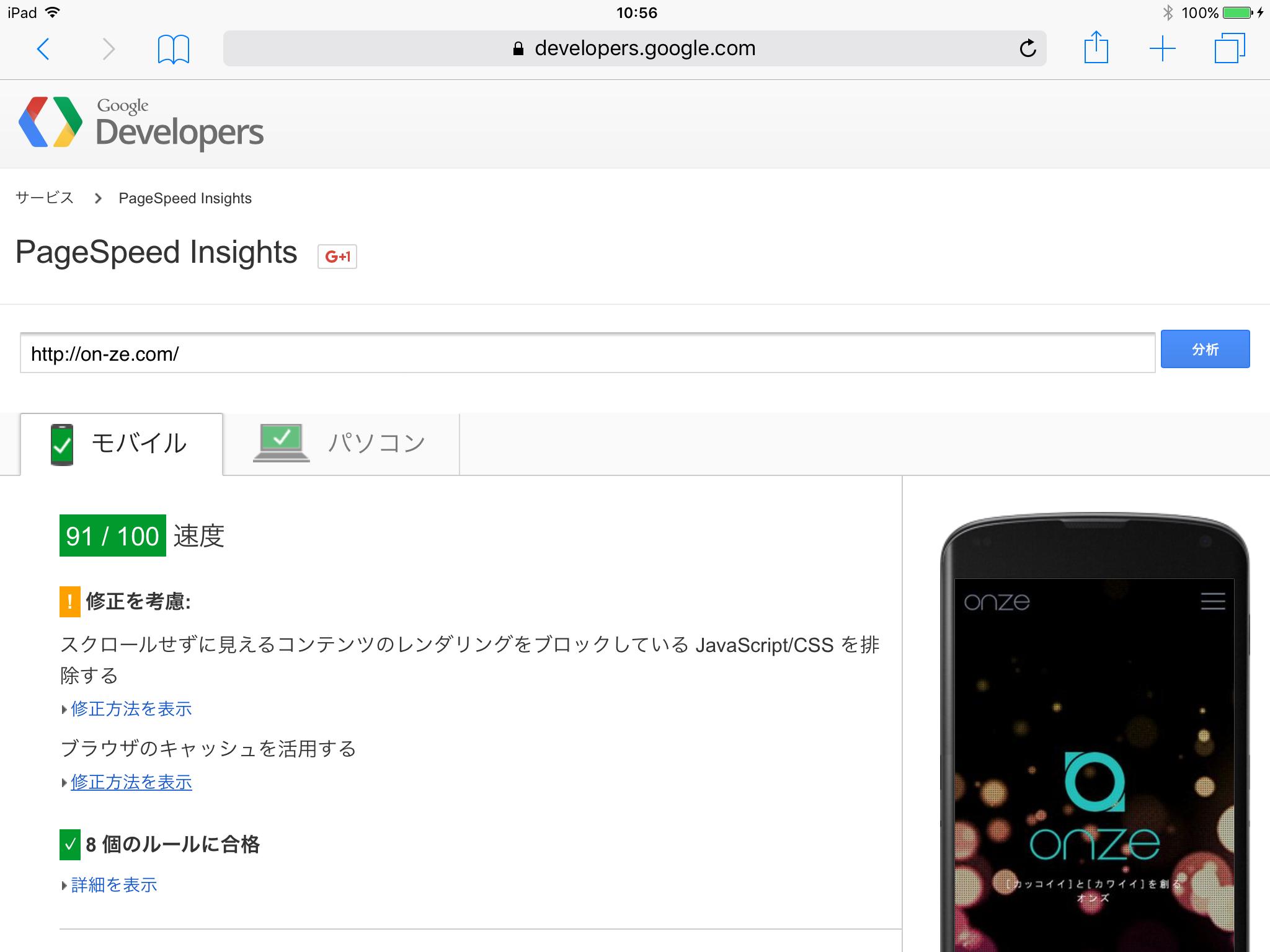 スピードテスト 01 : Google PageSpeed Insights