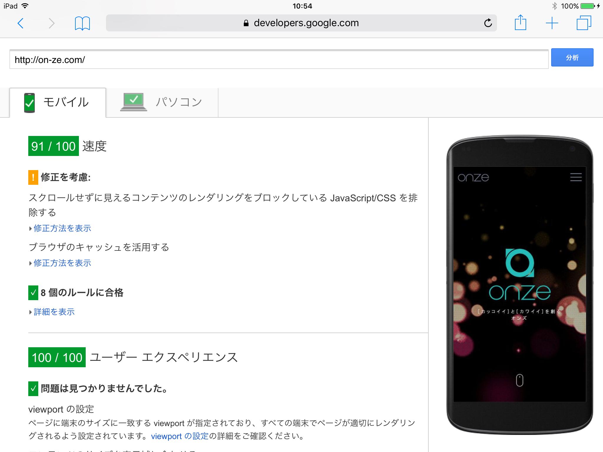 スピードテスト 02 : Google PageSpeed Insights