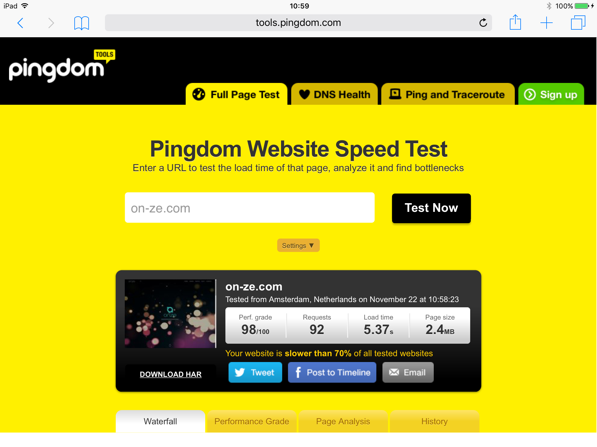 スピードテスト 08 - Pingdom Website Speed Test